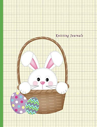 Knitting Journals: 2:3 Ratio Design Blank Knitter's Journal Graph Paper Notebook on Your Design Knitting Charts for Creative New Patterns Composition Notebook Rabbit Easter Egg Theme