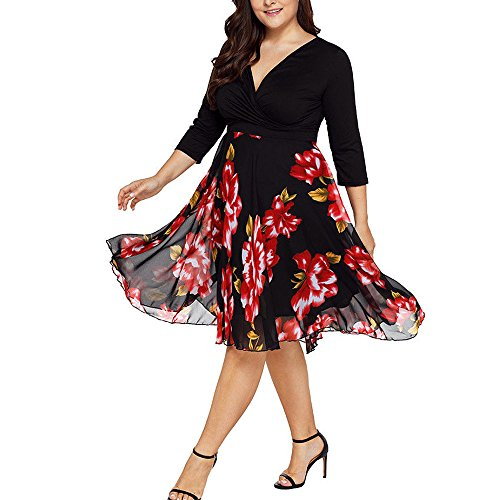 Big Promotion! Women Midi Dresses, V Neck Wrap Chiffon Floral Long Sleeve Plus Size Prom Dress (Playboy : Womens Shoes)