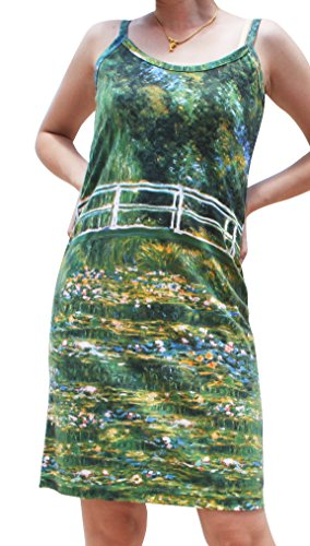 RaanPahMuang Claude Monet Water Lily Pond Spaghetti Strap Dress , Small
