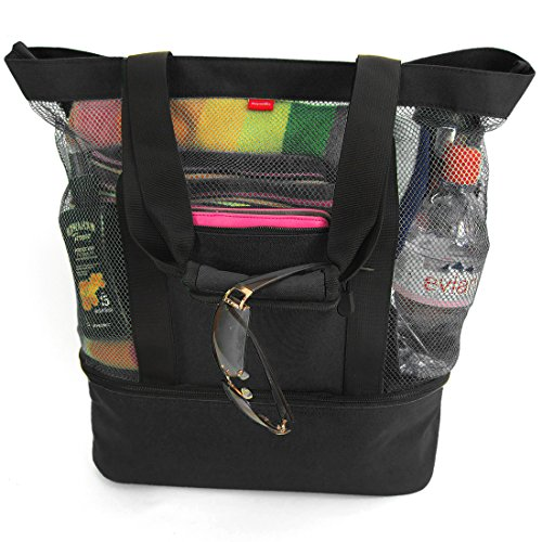 Aruba Mesh Beach Tote Bag with Insulated Picnic Cooler (Black) For Sale