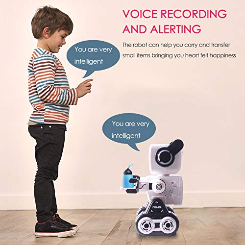 IHBUDS Remote Control Toy Robot for Kids,Touch & Sound Control, Speaks, Dance Moves, Plays Music. Built-in Coin Bank. Programmable, Rechargeable RC Robot Kit for Boys, Girls All Ages - White/Black by HBUDS (Image #5)