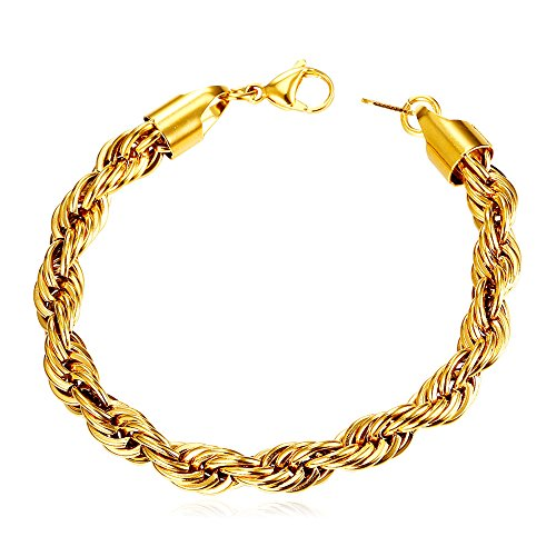 Men 6mm Wide 18K Gold Plated Cool Twisted Rope Chain Bracelet