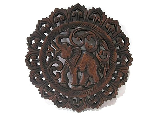 Round Elephant Right Handmade Thai Teak Wood Carving Wall Art Decor Hanging (Teak Shop)