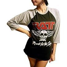 Jigg And Roll Unisex Ratt T Shirt Rock Band 3/4 Sleeve BaseballLarge Black/Grey