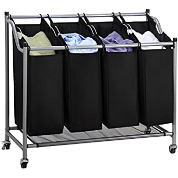ollieroo laundry sorter cart 4bag classics rolling laundry hamper sturdy frame with 60kg