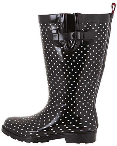 Capelli New York Dames Glanzende Lange Regenlaars Zwart Witte Stip