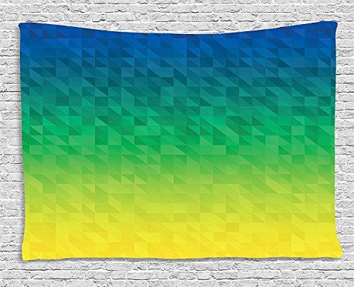 Yellow and Blue Tapestry, Ombre Inspired Abstract Fractal Mosaic Form in Brazil Flag Colors, Wall Hanging for Bedroom Living Room Dorm, 80 W X 60 L Inches, Blue Green Yellow