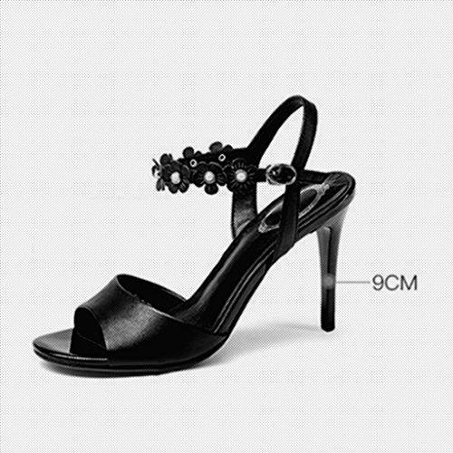 CN36 Chaussures Noir Sandales Taille avec MUMA féminin Blanc Bout EU36 des Escarpin Ouvert Couleur Hauts à Sexy UK4 Fine Simples Blanc Talons à xv1WwvqUPI
