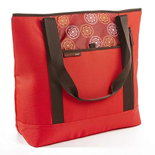 Rachael Ray ChillOut Shopper Tote, Insulated Reusable Grocery Bag, Red