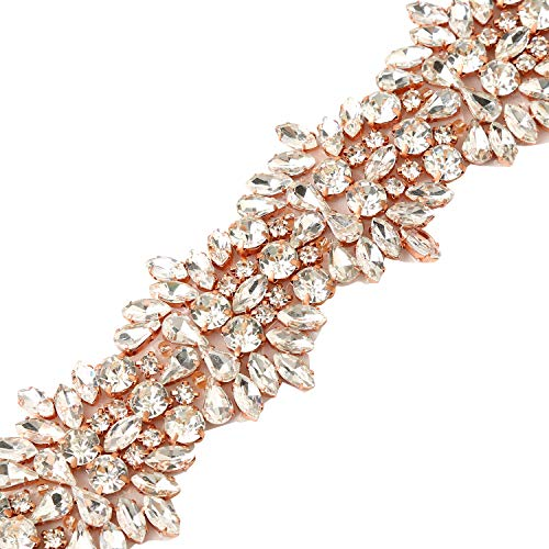 Rhinestone Wedding Applique Handmade-Bridal Wedding Dress Sash Belt Applique with Crystals Rhinestones Beaded Dacorations Handcrafted - Rose Gold