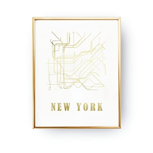 New York Subway Map To Print.Amazon Com Real Gold Foil Print New York Metro Map Metro Map