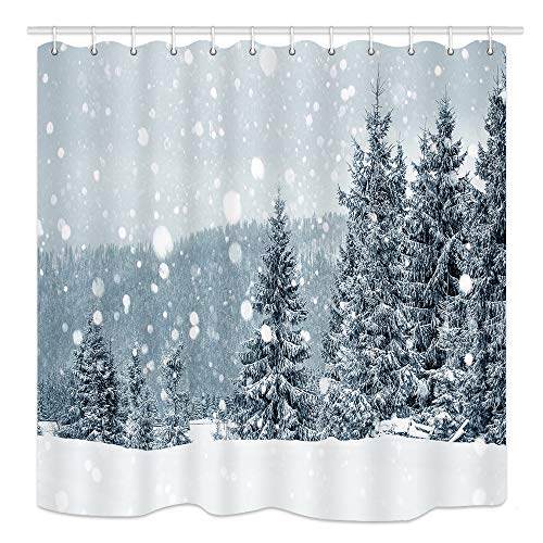 NYMB Country Farmhouse Winter Forest Shower Curtain, Pine Tree in Snow Natural Scenery, Polyester Fabric Waterproof Bath Curtain Bathroom Accessories, 69X70in, Hooks - Shower Snow