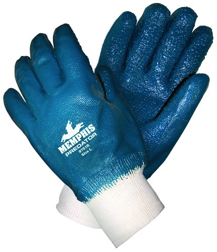 MCR Safety 9751R Predator Supported Nitrile Rough Fully Coated Palm Men's Gloves with Knitted Wrist, Rough, Blue/White, Large, 1-Pair