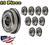 10-Pieces F608-ZZ Ball Bearing 8x22x7mm, Flange Shielded Deep Groove Best Quality by Jeremywell?Jeremywell''