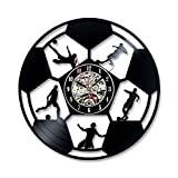 Soccer Football Ball Design Vinyl Record Wall Clock Hollow Black Play Soccer Pattern Gift for Soccer Fans Creative Antique Style Clock