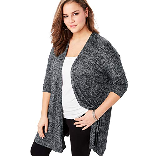 Roamans Women's Plus Size Supersoft Open-Front Cardigan with Pointed Hem - Charcoal, 18/20
