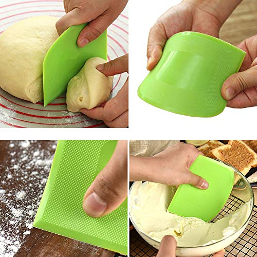 2 Pieces Dough Scraper Bowl Scraper Food-safe Plastic Dough Cutter Flexible Plastic Scraper Practical Bench Scraper Multipurpose Food Scrappers for Bread Dough Cake Fondant Icing, White, Green
