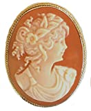 Cameo Brooch Pendant Enhancer Autumn Love Master Carved, Shell Sterling Silver 18k Gold Overlay Italian