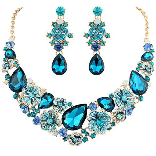 EVER FAITH Women's Austrian Crystal Teardrop Camellia Necklace Earrings Set Turquoise Color Gold-Tone