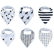 Baby Bandana Drool Bibs 6 Pack for Boys and Girls, Hypoallergenic Soft Organic Cotton With Snaps for Teething Drooling, Unisex Baby Shower Gift, Newborn Registry Gift (Modern Black White monochrome)
