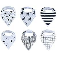 Baby Bandana Drool Bibs 6 Pack for Boys and Girls, Hypoallergenic Soft Organi...