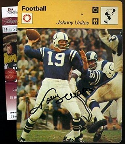 Johnny Unitas Signed Certed Sportscaster Card Autograph - JSA Certified - Autographed Football - Unitas Autograph Johnny