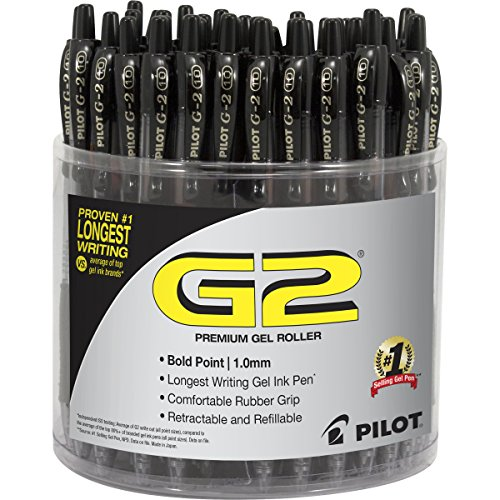 PILOT G2 Premium Gel Roller Pen, Retractable and Refillable, 48 Piece Tub, Black, Bold Point (5673)