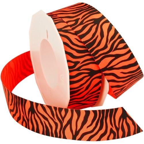 Morex Ribbon Neon Zebra Grosgrain Ribbon, 1-1/2-Inch by 20-Yard, Tangerine