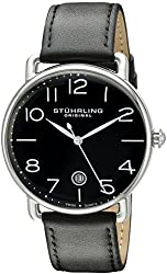 Stuhrling Original Men's 695.04 Symphony Analog Display Swiss Quartz Date Black Leather Strap Watch
