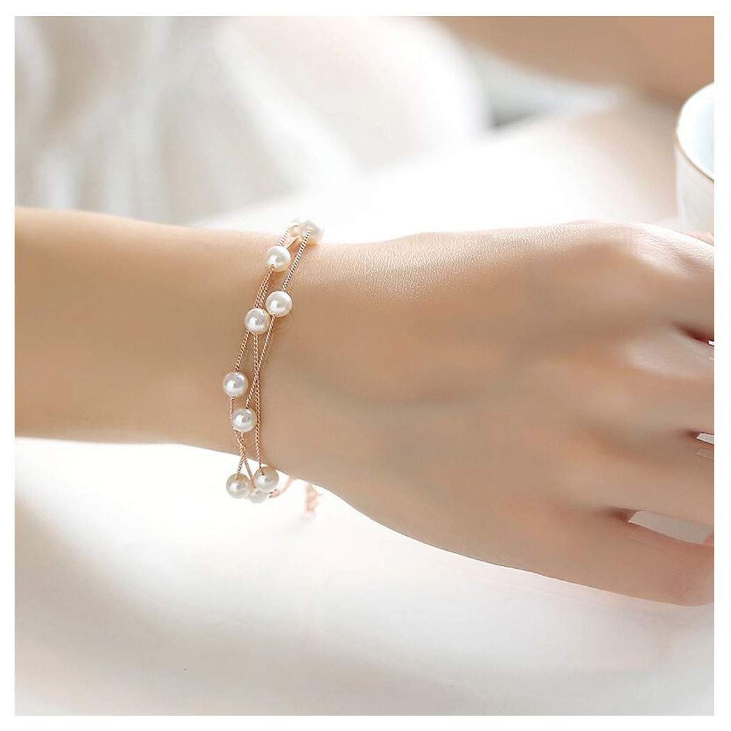 Wedding Charm Rose Gold Stackable Imitation Pearl Strand Anklet Link Chain Bracelet Bangle for Bridal CHICY B07DBMW6WG_US
