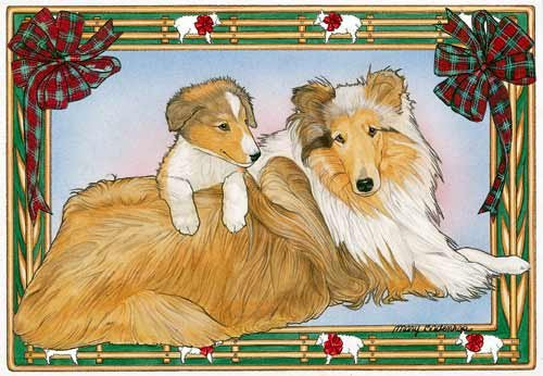 Border Collie Christmas Cards Mom & Pup : 10 Holiday Cards with Red Envelopes - ADORABLE!