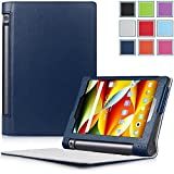 Yoga Tablet 3 8 Case - HOTCOOL Ultra Slim Lightweight Folio With Auto Sleep / Wake Feature Cover Case For 2015 Released Lenovo Yoga Tablet 3 8-Inch Tablet, Navy Blue
