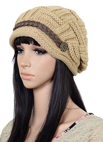 (UZZO™ Fashion woman lady girl warm flexible handmade Knitted Crochet Baggy Beret Cap Hat embellishment by one PU Braids for woman outdoor sports(K)+Free UZZO logo Key Ring)