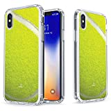 iPhone X Tennis Case - True Color Clear-Shield Tennis Ball Sports Collection Printed on Clear Back - Soft and Hard Thin Shock Absorbing Dustproof Full Protection Bumper Cover