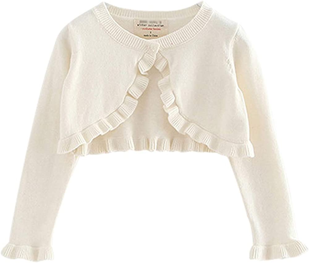 Lazzon Baby Girls Bolero Cardigan Kids Knitted Ruffle White Shrug Sweater for Dress Christening Wedding Bridesmaid