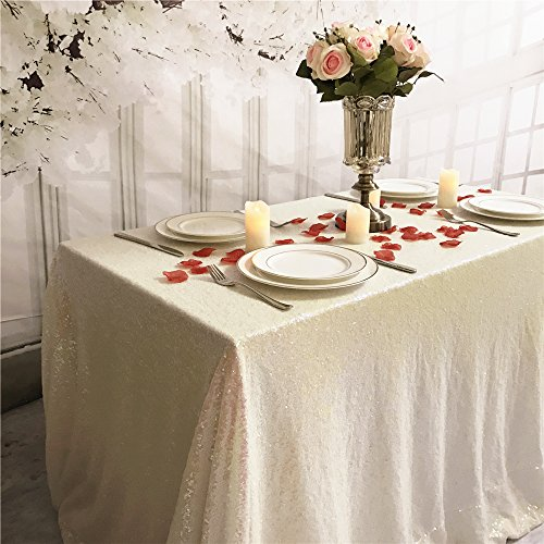 TRLYC 50 Inches Square Sequin Tablecloth Wedding Table Cloth