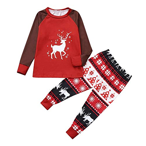 (Matching Family Christmas Pajamas Set, Men Women Baby Deer Classic Print Top Pants 2PCS Family Clothes PJs (2T,)