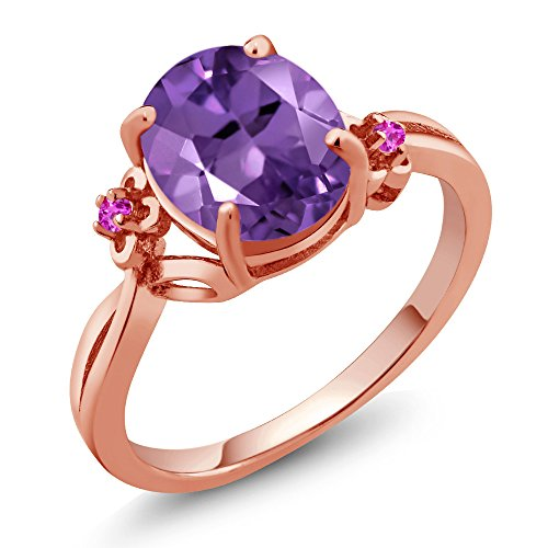 14K Rose Gold Purple Amethyst and Pink Sapphire Women's Ring (2.24 Ctw Oval Available in size 5,6,7,8,9)