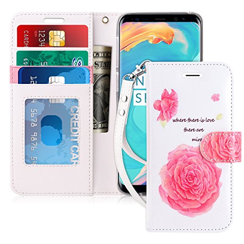 FYY Luxury PU Leather Wallet Case for Samsung Galaxy S9 Plus, [Kickstand Feature] Flip Folio Case Cover with [Card Slots] and [Note Pockets] for Samsung Galaxy S9 Plus Flower ()