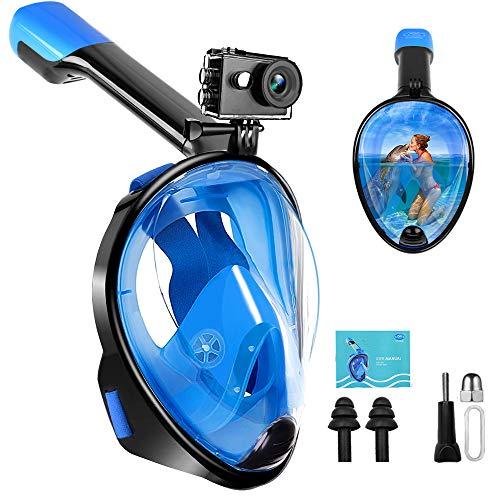 FEIYU CREATIVE Diving Mask, Snorkel Mask Full Face Foldable Snorkeling Mask Anti-Fog Anti-Leak, for Adults and Kids, Black & Blue, L