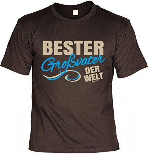T-Shirt Opa - Bester Grossvater der Welt - Geschenk Idee mit Humor zum Vatertag Opatag oder Geburtstag - braun