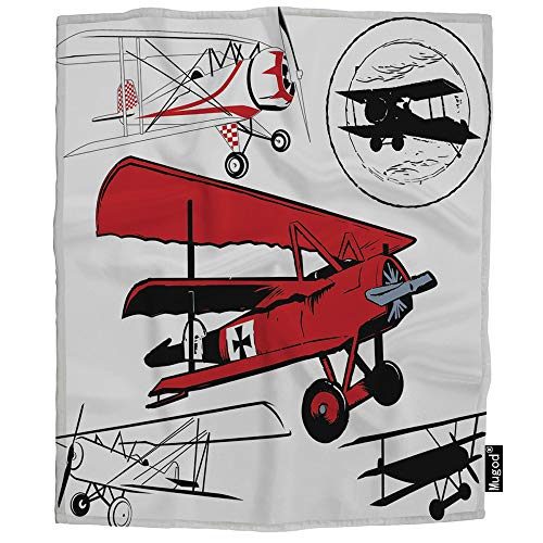 Mugod Biplanes Blanket Fly Airplane Aircraft Antique Black Circle Line Art Fuzzy Soft Cozy Warm Flannel Throw Blankets Decorative for Boys Girls Toddler Baby Dog Cat 40X50 Inch ()