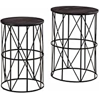 Ashley Furniture Signature Design - Marxim End Tables - Traditional Vintage Style - Round - Dark Brown