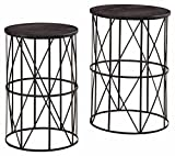 Ashley Furniture Signature Design – Marxim End Tables – Traditional Vintage Style – Round – Dark Brown
