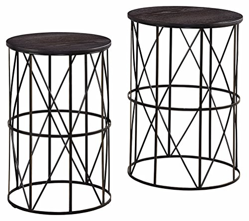 Ashley Furniture Signature Design - Marxim End Tables - Traditional Vintage Style - Round - Dark Brown - CONTEMPORARY NESTING END TABLES: Borrowing from modern and minimalist trends, this clean-lined table set is sure to make an impression in your living room METAL FRAME: Tabletop is made of veneers, wood and engineered wood and the cross-bar frame is made of metal. Gentle distressing makes all the difference VERY VERSATILE: The aged-bronze finish looks almost black, making it easy to mix and match with all kinds of decor styles. Use them as end tables to set your coffee or lamps for ultimate ambiance - living-room-furniture, living-room, end-tables - 51sT1m9Do L -