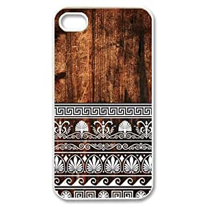 Custom Your Own Personalised White Pattern on Wood Iphone 4/4S Best Durable Hard Cover Case