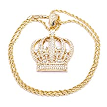 Men's New Gold Plated Crown Iced Out Fashion Pendant Diamond Cut Rope Chain Necklace