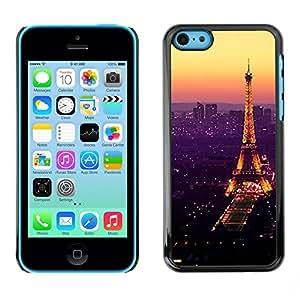 Impact Case Cover with Art Pattern Designs FOR iPhone 5Cs Tour De Purple Tower Paris Vibrant Betty shop