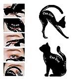LKE 2 in 1 Cat Eyeliner Stencil, silicone Smoky Eyeshadow Applicators Template Plate,Professional Multifunction Black Cat Shape Eye liner & Eye Shadow Guide Template (1 PACK)