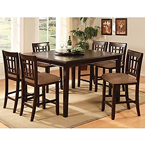 Kendall Dark Cherry Finish Counter Height 9 Piece Dining Room Table Set
